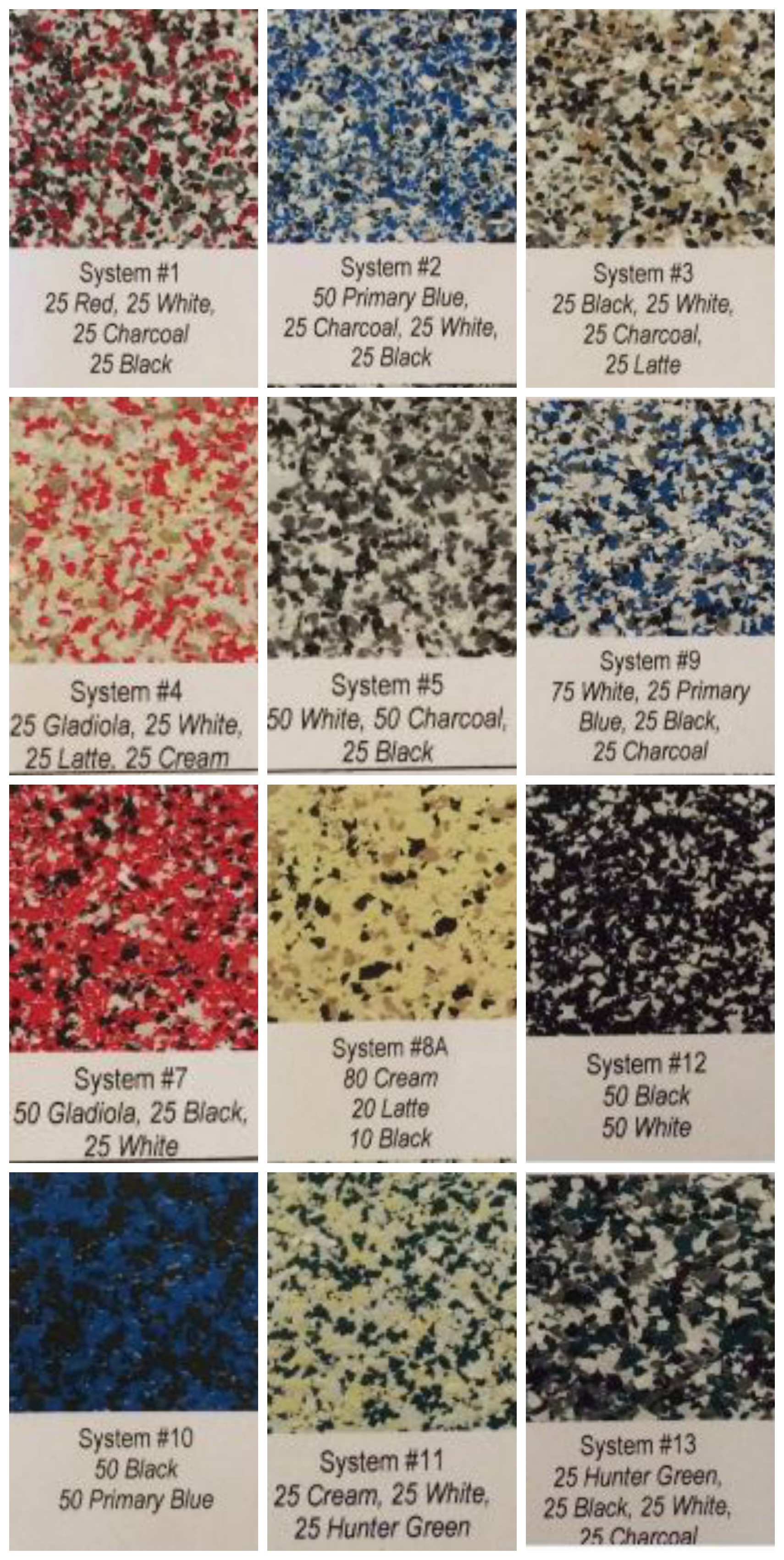 Cement paint chip color chart